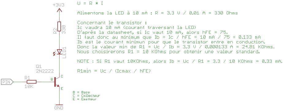 Schéma pour piloter une LED via une broche du GPIO